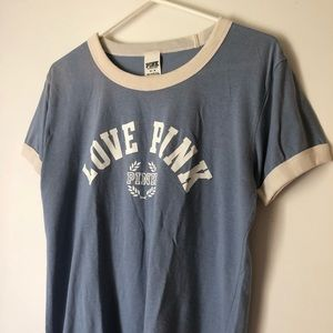 Victoria Secret PINK Baby Blue Ringer Style Tee